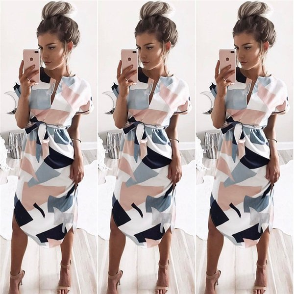 Gonne media scollo a V blocco fiore stampa maniche corte mini abiti moda donna estate abbigliamento casa 17fy 17fy E1