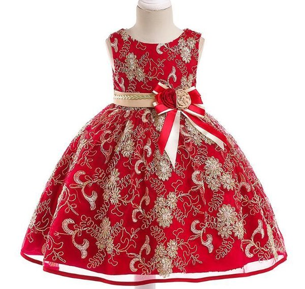 2019 European and American fashion princess dress bow flower girl dress skirt gold thread embroidery girl cotton dress