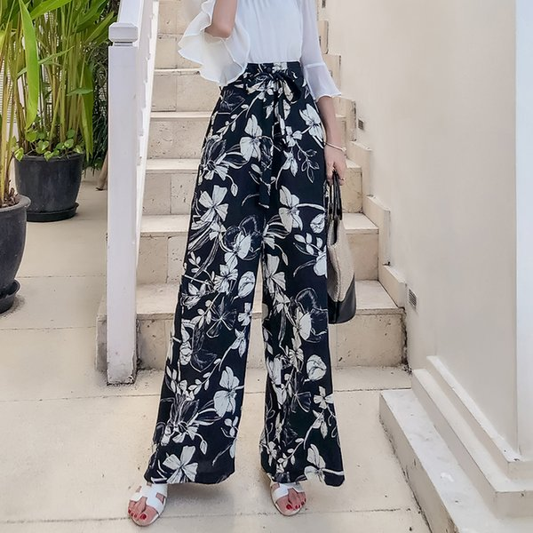 Pottis Real Shot Of 2018 New Holiday Thailand Pants Large Size Bohemian Wide Leg Pants Beach Pants Fashion Travel Trousers Y19071701