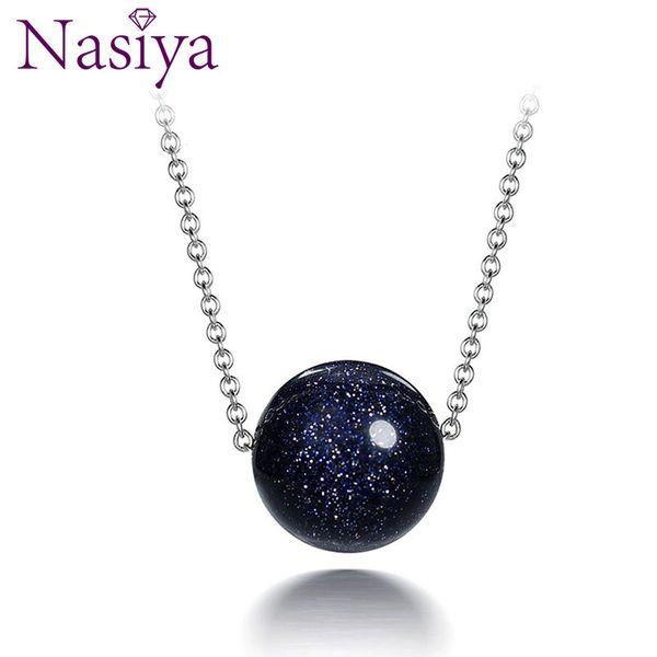 925 colar de pingente de prata esterlina para as mulheres moda jóias de areia azul Aventurine pedra presentes de aniversário de noivado