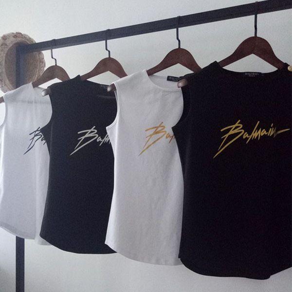 New BALMAIN Rock Mulheres Designer T-Shirt Estrela com o mesmo parágrafo Balmain sarja impressão t-shirt casual sem mangas colete feminino