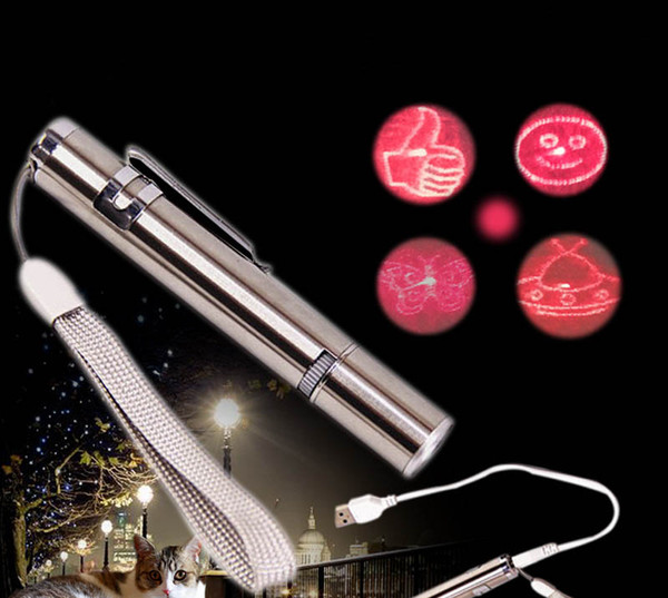 USB Rechargeable Pet Toys Cat Training Toy Laser Pointer With LED Flashlight with Clip 5 Model Pattern X331