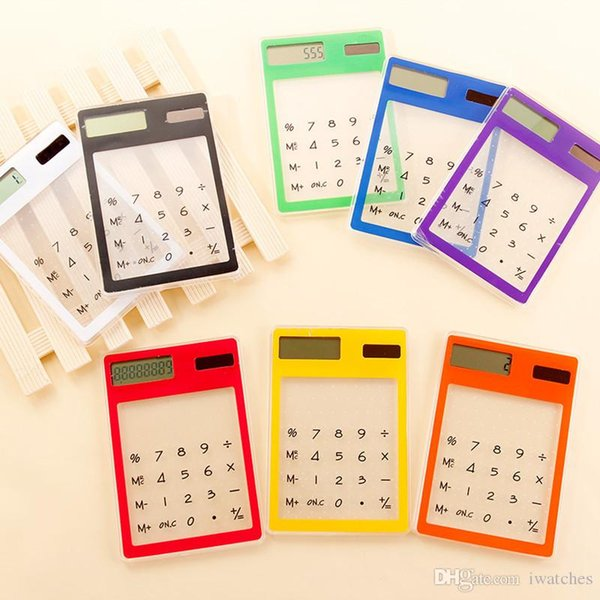 calculatrice Transparent 9 couleurs solaire portable compact écran tactile ultra mince mini-calculatrice de poche papeterie étudiant