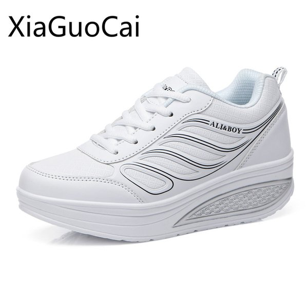 wedge sneakers women super light mesh running shoes height increasing women breathable slimming swing shoes ing