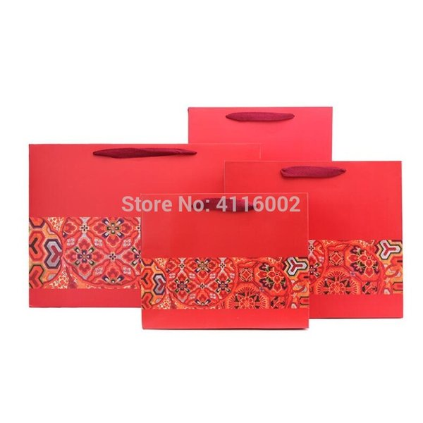 100pcs Chinese Style Wedding Party Favor Gift Bags Red Flower Kraft Paper Packaging Bags With Handle Festival Gift Bags