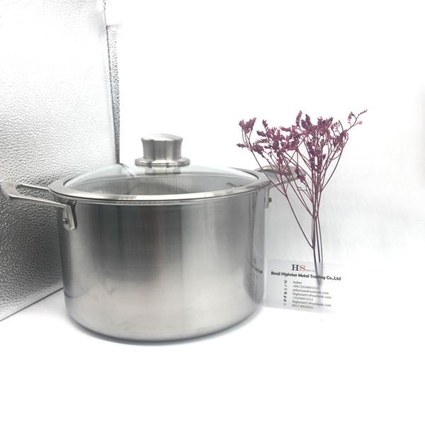 Factory supply perfect quality titanium soup pot titanium pan temperature control titanium cooking pot cookware set soup
