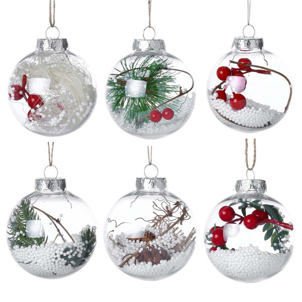 Christmas Transparent Ball 6 Styles Romantic Xmas Tree Pendant Hanging Decorazioni Clear Bauble Ornament Christmas Toy OOA6007