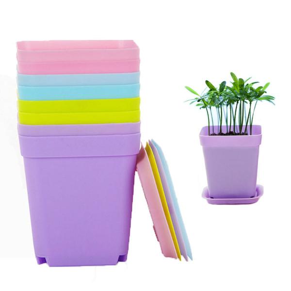 Mini Pots De Fleurs Avec Châssis Coloré En Plastique Pépinière Pots Fleur Planteur Pour Gerden Décoration Home Office Desk Plantation