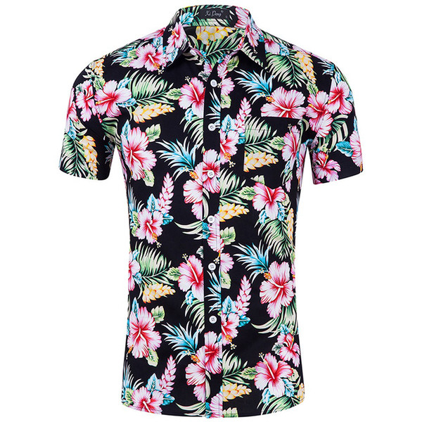 Summer Beach Hawaiian Shirt Men Short Sleeve Floral Print Button Down Tropical Shirts Mens Holiday Party Vacation Chemise Homme GD25