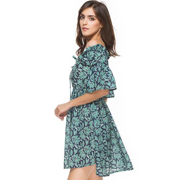 Yeni 2017 çiçek yaz dress kadınlar soğuk kesip omuz yeşil yapraklar çiçek baskı kız sundress parti dress womens