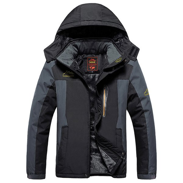 Winter Fleece Jackets Men Windproof Waterproof Outwear Parka Mens Windbreaker Warm Raincoat Coat Plus Size 9XL Overcoat