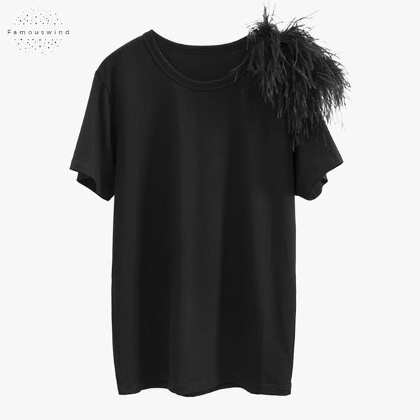 2019 Новые летние рубашки вскользь черные топы O шеи с коротким рукавом женщин пэчворк Перья Женщины T хорошее качество