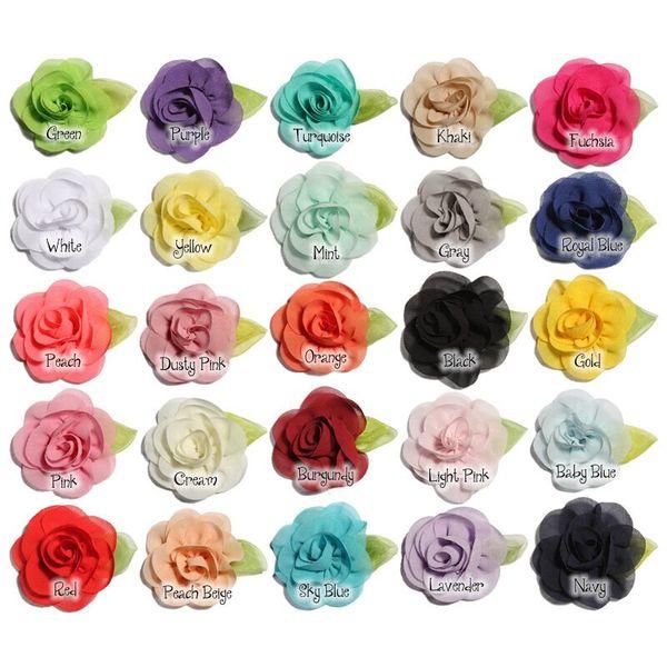24 Colors Fancy Chiffon Pearl Flowers with Leaf For DIY Headband Hair Accessories Supplies Girls Women Lady Wedding