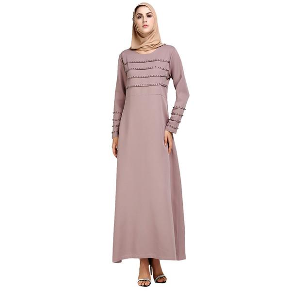 Moda donna musulmano estate stampa tromba manica ricamo elegante altalena islamico abiti maxi vestiti z0415