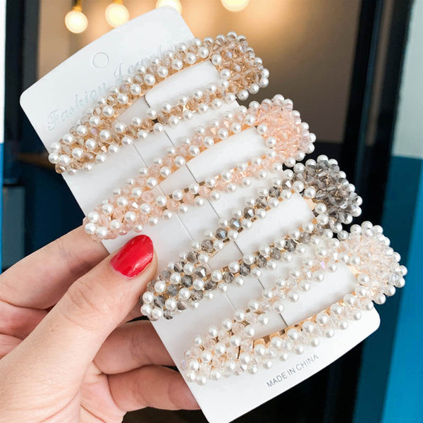 Ins new Korean girls hair clips pearl kids Barrettes girls Hairclips hair accessories for women BB Clip girls rhinestone hair clips A4998