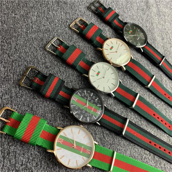 40mm Orologio al quarzo in nylon con cinturino Cinturino a strisce rosso e verde Orologio da polso colorato Moda orologi di lusso Orologio da donna uomo militare B82703