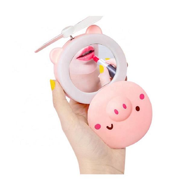 Mini fan 2 1 Taşınabilir LED Işık Güzellik Ayna Karikatür Domuz USB Şarj Edilebilir Mini El Soğutma Fanı