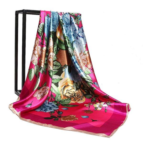 실크 스카프 모조 실크 새틴 90cm 광장 꽃 식물 꽃 패션 스카프 여성 1PCS