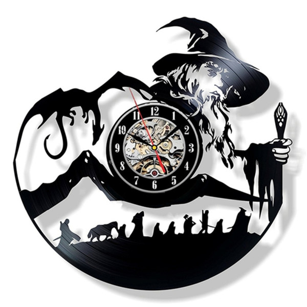 LED Light The Lord of the Rings Vinyl Record Hanging Wall Clock Creative Handmade Antique Hollow Clock Classic Home Decor