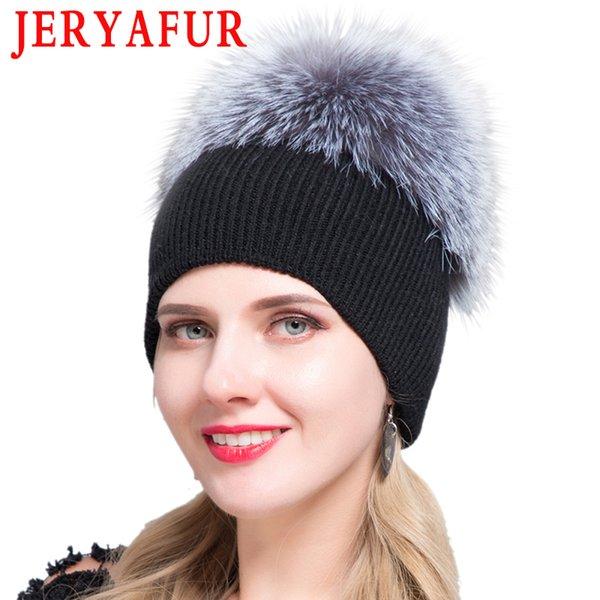 JERYAFUR russo autunno berretto fava inverno, uomini e maglia di lana cappelli da donna, cappello di svago e pelliccia di procione cappello del pattino