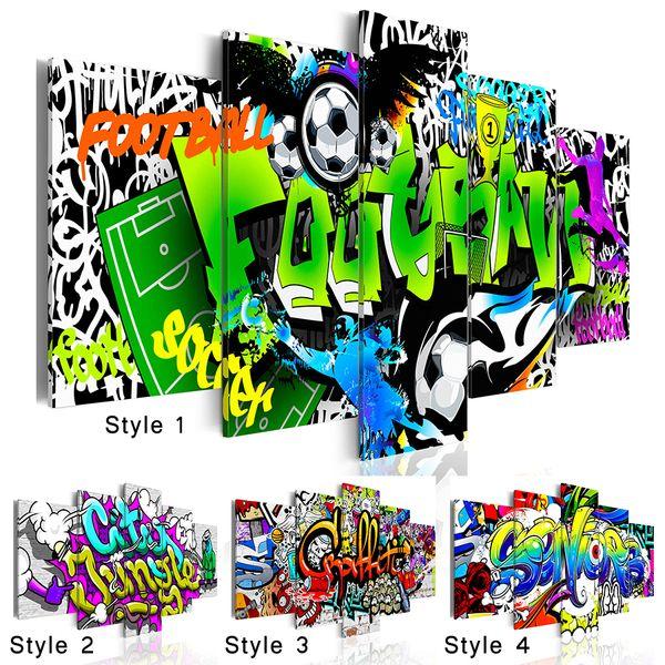 Moda Wall Art Tela Pittura 5 Pezzi Creativo Astratto Scrittura Acquerello Colorato Graffiti Calcio Moderna Decorazione Della Casa No Frame, cap