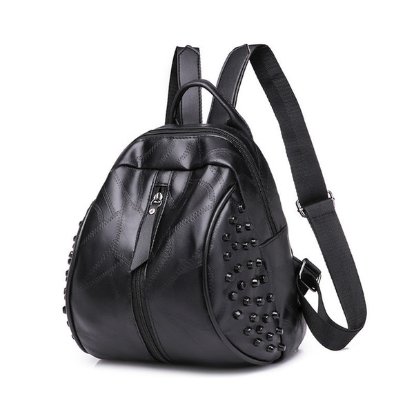 Fairy2019 Backpack Woman School Wind Rivet Both Shoulders Package Women's Bag Tide