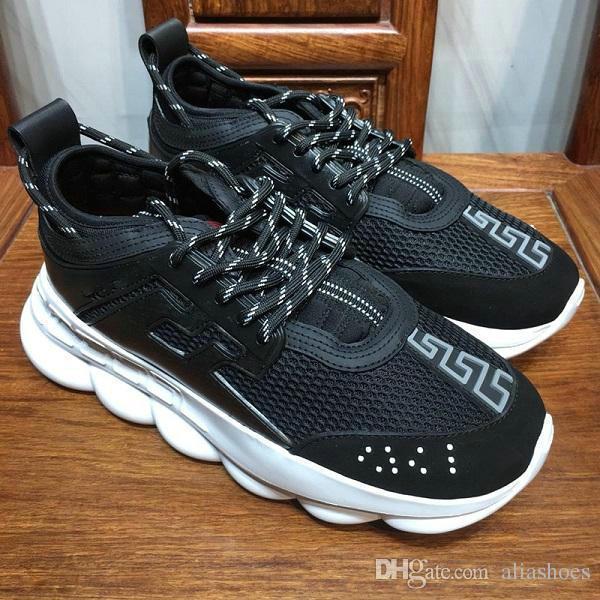 Hommes Femmes de haute qualité Chain Reaction Sneaker Luxury Designer Shoes Sneakers Fashion District Taille 35-46 W6