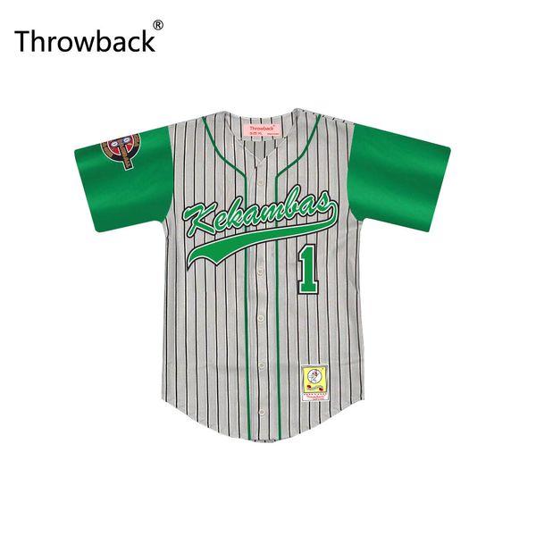 Evans 1 Kekambas Pinstriped Baseball Jersey Throwback Jairo G-Baby 'com ARCHA e patches frete grátis Boa quali de Duffy