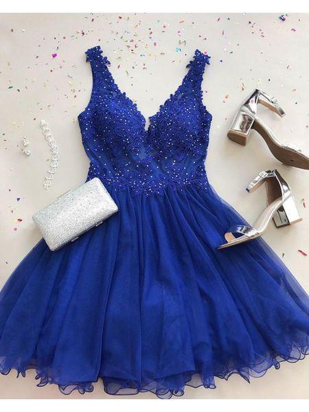 Chiffon Royal Blue vestido de fiesta Vestidos de Fiesta Elegantes con cuentas cortos de baile vestidos de apliques de encaje vestido de fiesta 2019