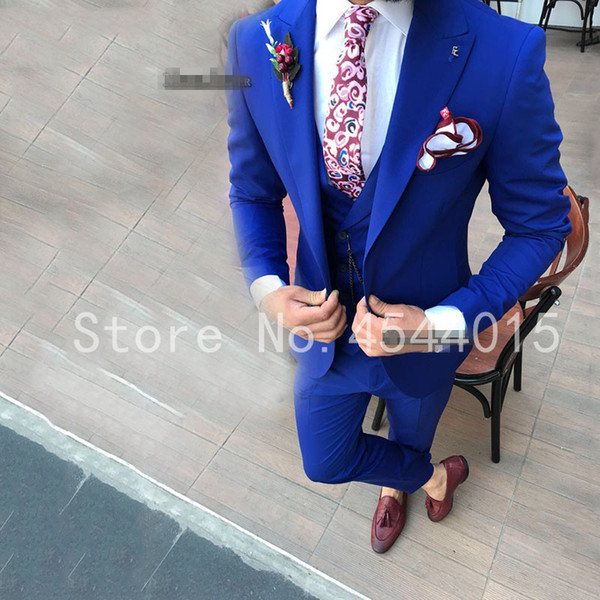 Men Wedding Suits Slim Fit Real Groomsmen Royal Blue Shawl Lapel Groom Suit Mens Tuxedo Blazer Wedding/Prom Suits 3 Pieces