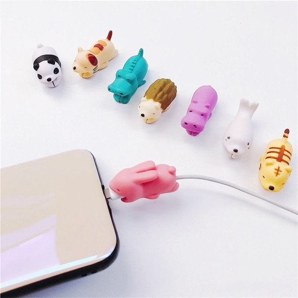 top popular Cable Animal bite USB cable protector Charger Data Protection Cover Mini Wire Protector Cable Cord Phone Accessories Creative Gifts 36 Desig 2021
