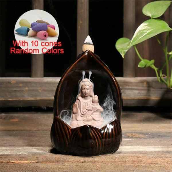 10pc Incense Cones + Backflow Burner Creatives Ceramic Buddha Backflow Incense Burner Cones Holder with LED Lamp For Home