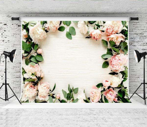 Sonho 7x5ft Rosa Flor Branca Pano de Fundo Do Casamento De Madeira Branca Floral Verde Folhas Fotografia Fundo para o Bebê chuveiro Shoot Estúdio Prop