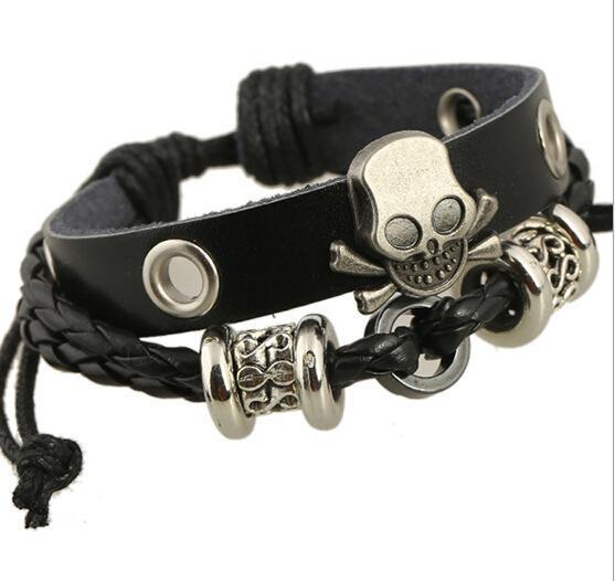 Crâne Mode Hommes Bracelets en alliage Charms Designer coréen Bijoux Croix Bracelet Sets Party Déclaration Trendy Bracelets en cuir pour unisexe