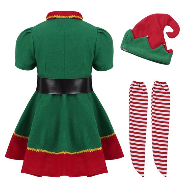 Christmas Green Dress.2019 Kids Girls Christmas Clothes Green Dress With Red Santa Hat Belt Tights Set For Xmas Cosplay Party Costume Dress Up Y190515 From Shenping01