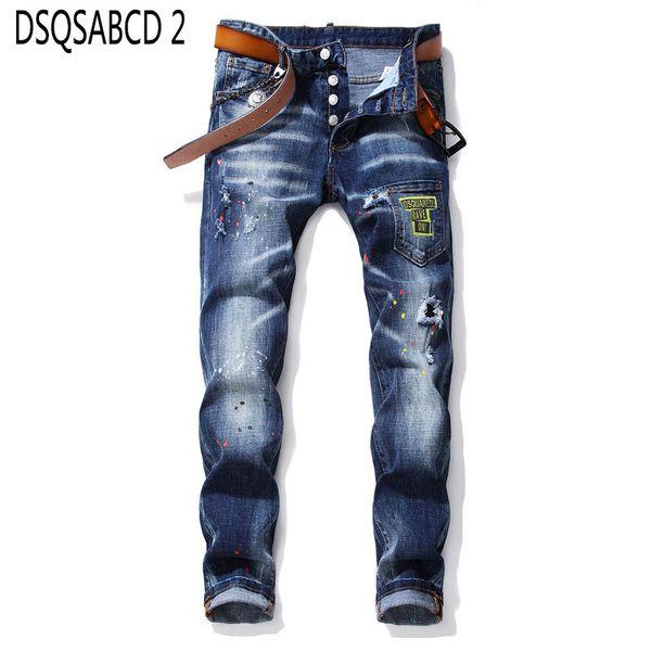 Европейские американские джинсы известного бренда slim джинсы брюки Мужские тонкие джинсовые брюки молния синий отверстие Брюки Карандаш для мужчин 1028