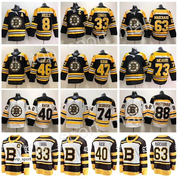 Classique d'hiver Bruins de Boston 33 Maillot de hockey Zdeno Chara Cam Neely Charlie McAvoy 88 Tukka Rask Kruk Krug Noir Hommes Blancs