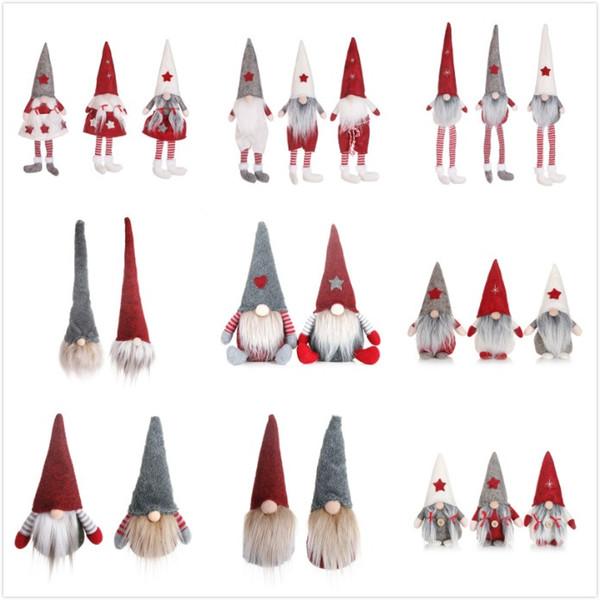 top popular 22 Styles Funny Christmas No Face Dolls European & American style Window Doll Santa Claus Doll Cartoon Christmas Toys 2021