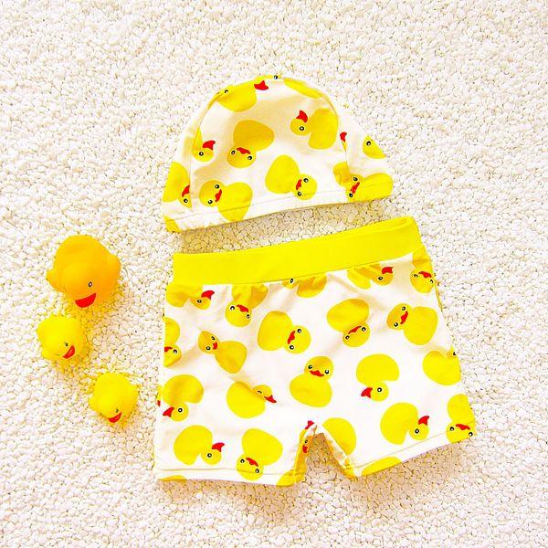 Baby Swimsuits Cartoon Yellow Duck Trunk Baby Boy Children Swimming Sports Swimwear Summer Kids Bathing Suits with Cap