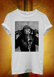 Maymun Karaoke Yıldızı Kötü Hipster Komik Erkek Kadın Unisex T Shirt Tank Top Yelek 366