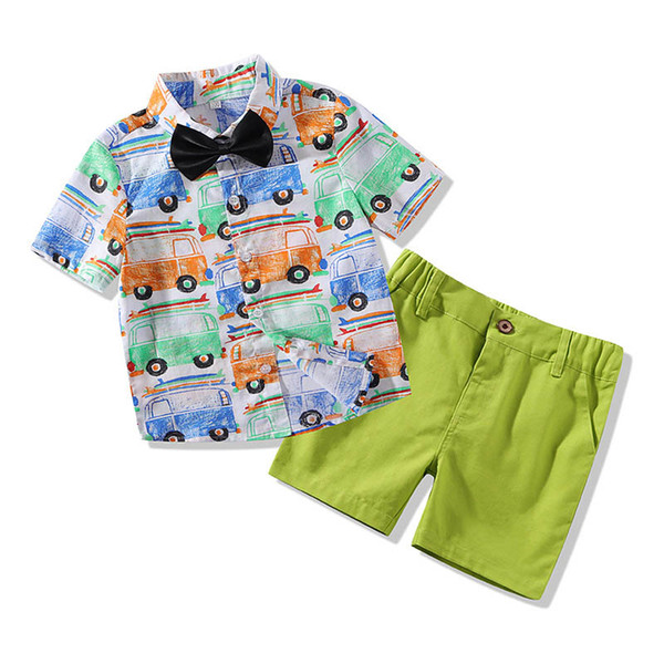 Cartoon boys suits Summer Fashion kids designer clothes boys clothing sets baby boys outfits Kids Outfits kids clothes shirts+shorts A5488