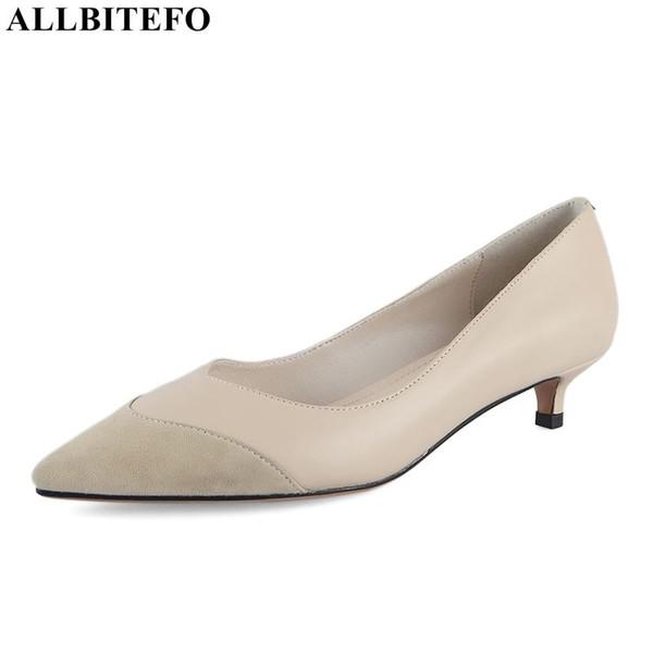 ALLBITEFO neu kommen echtes Leder spitze Zehe High Heels Damenschuhe hochwertige Damen Ferse Schuhe Bürodamen an