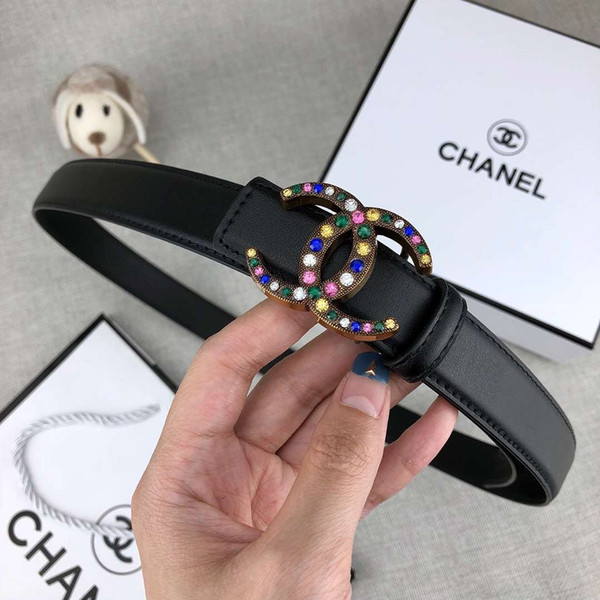 New Womens Designer Belts Luxury Belt Fashion Belts Casual Smooth Jewellery Buckle Black Brown Leather Belt Width 24mm High Quality with Box