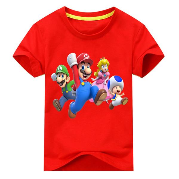 Baby Cotton T Shirt Costume For Kids Cartoon Mario T-shirt Clothing Boy Girls Summer Short Tees Top Unisex Children Tshirt Dx146 J190427