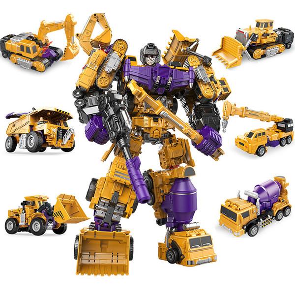 6 Vehículos de ingeniería Transformación de automóviles 1 Robot Compatible Modelo de coche Niños Corretly Mind Hand Kid Juguete Legoingly Boy Toys World