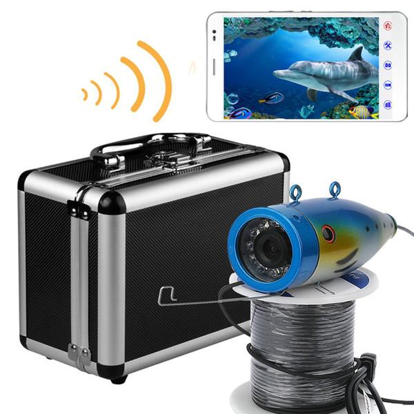 PDDHKK 1000TVL Gece görüş Balıkçılık Video ve Kamera Kitleri 12 ADET 1 W Parlak LED Beyaz Işıklar APP Kontrolü Video Kayıt Destekler