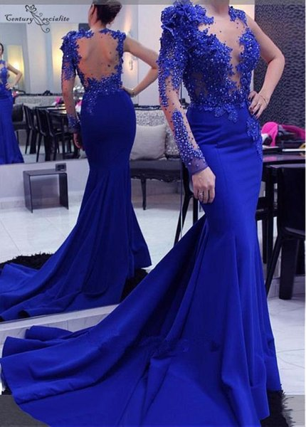 Royal Blue Mermaid Sexy Evening Dresses Long 2019 Lace Appliques Pearls Sweep Train Illusion Top Prom Party Gown Robe de soiree