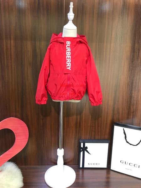 2019 çocuklar ceket çocuk giyim kız kırmızı Kapüşonlu mektup zip ceket Rüzgar Geçirmez güneş koruyucu ceket çocuk hoodie bebek kız giyimi tops AB-6