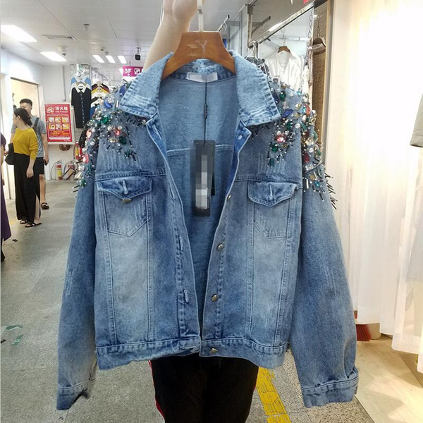Beaded Diamond Denim Jacket Women Clothing 2018 New Fashion Denim Coat Women Short Slim Wild Coats Jackets Female Outerwear