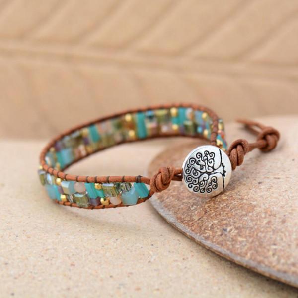 Bling Mixed Crystal Gold Beads Single Leather Wrap Bracelet Vintage Button Beaded Cuff Bracelet Women Boho Bracelet Dropship